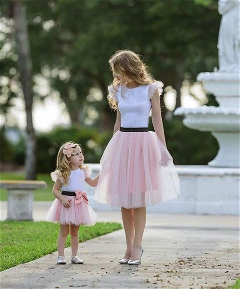 07f81b97af 2Pcs Ruffle T-shirt Tulle Tutu Skirt Mother Daughter Matching Bow ...