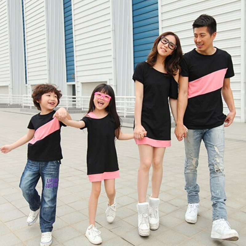 89674961cf14 Matching Clothes for Family Mother Daughter Sloping Shoulder Dress ...
