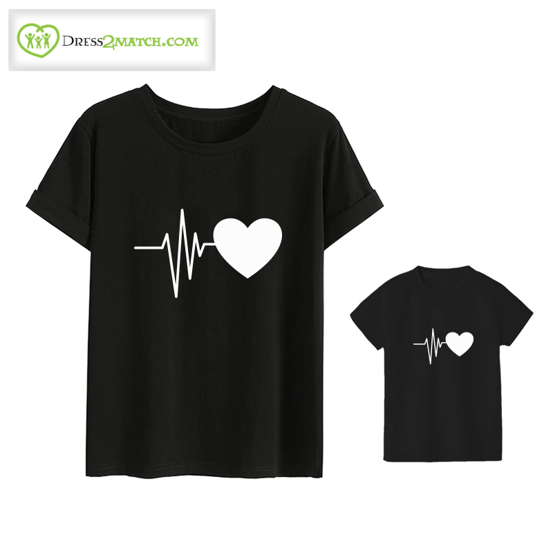 Mother And Kid Cute Heart T Shirt|2 Colors