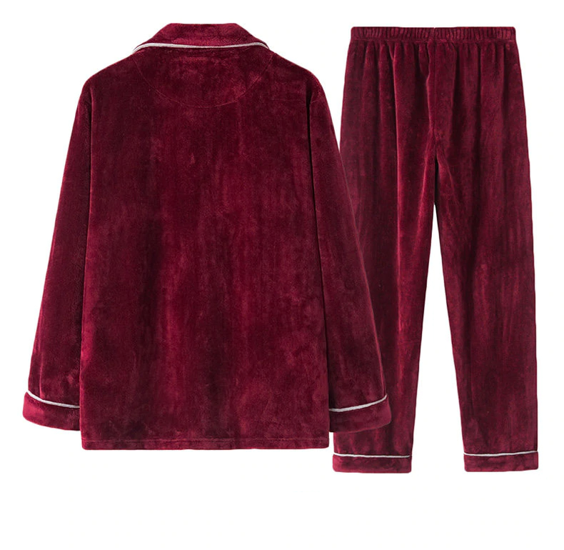 Matching Velvet Couple Pajamas Set | Flannel Sleepwear Pajamas